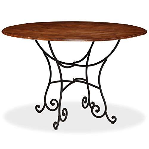 Festnight Tavolo da Pranzo Rotondo Design Retro Vintage in Legno Massello e Acciaio,Tavolo Rotondo da Cucina Legno Classico,Tavolo Rotondo da Giardino Esterno Retro 120x76 cm