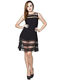 Panit Black Sleeveless Mesh Dress Double Extra Large