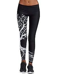 a86d9e7b8aa74 BaZhaHei Mujer Pantalones Largos Deportivos Patrón de árbol Leggings para  Running