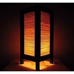 Rare Asia Thai lámpara de mesillas Buda estilo noche bambú por Tailandia
