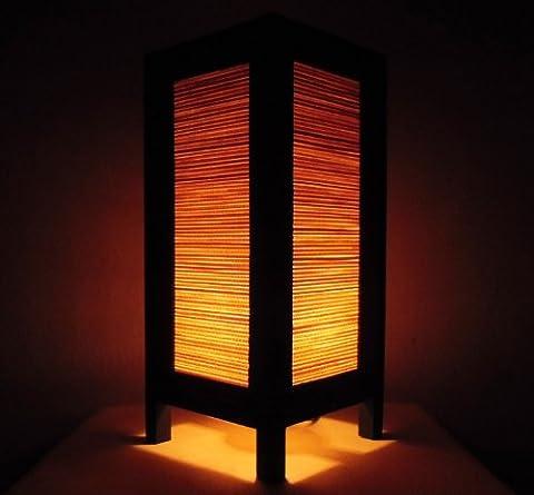 Rare Asie thaï Lampe de Tables Bouddha Style Chevet Bambou