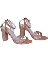 4fc769c88a4 AnShe Girls Women s Patent Leather Transparent Cross Design Peep Toe   4  inch Block Heel Fashion Sandals…