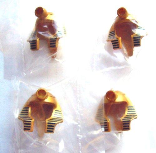 LEGO CITY - 4 seltene Masken für PHARAO / MUMIE in gold mit blauen Streifen (in den Original Tütchen wie abgebildet)