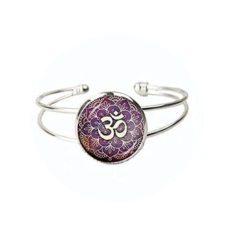 New Lotus Om Yoga Jewelry India Open Armreif Om Symbol Buddhismus Zen Meditation Mandala Glas Kuppel Armband Schmuck