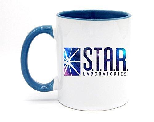 11 Ounce Star Labs Coffee Mug or Tea Cup White+Blue