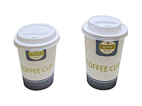 50 8oz - 10oz Disposable Paper Coffee Cups With White