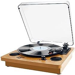 Platine Vinyle, VIFLYKOO Bluetooth Record Player Platine Vinyle et Encodeur Numérique avec Lecteur de Courroie de Haut Parleur Aux RCA 33/45/78 - Finition en Bois Naturel