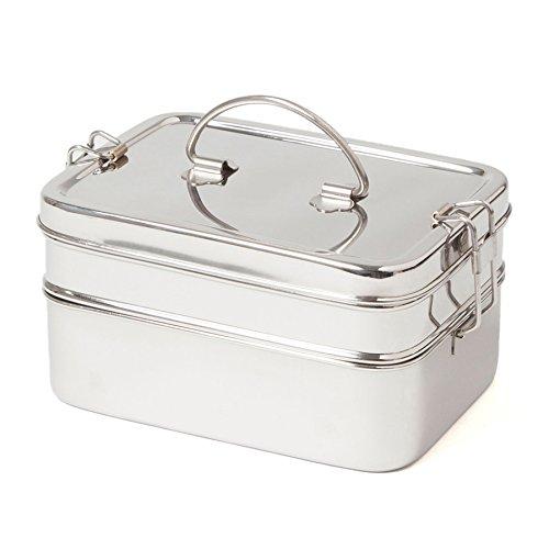 ECO Brotbox | Brotbox XL Double | Brotdose aus Edelstahl mit 2 Lagen | 1900 ml (Groß-buchsen Handwerker)
