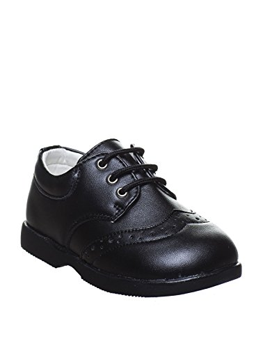 Paisley of London - brogue de sintético niño, color negro, talla Infant 7