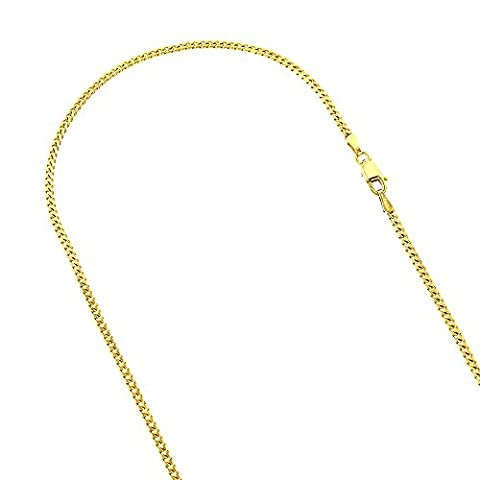 Luxurman 10K Solid Yellow Gold 2mm Wide Diamond Cut Curb