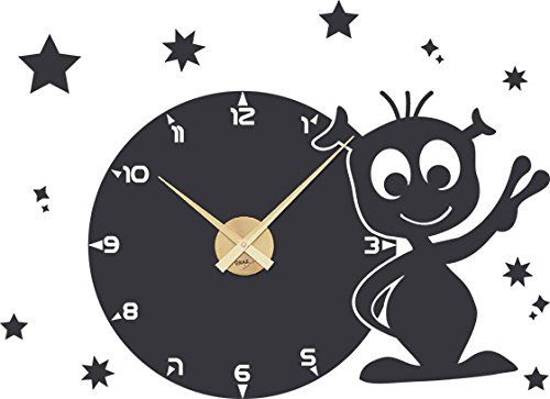 GRAZDesign Wandtattoo Uhr Kinderzimmer mit großem Ziffernblatt - Wandtattoo mit Uhrwerk UFO für Jungs - Lernuhr Kinderwanduhr Ohne Ticken Weltall / 78x57cm / 800347_GD_073