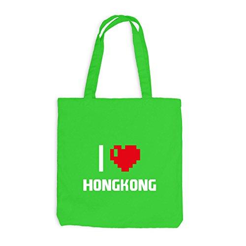 Jutebeutel - I Love Hongkong - China Reisen Herz Heart Pixel Hellgrün