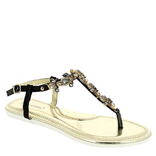 Ideal Shoes Sandales Plates Incrustées de Strass et Pierres à facettes Mabela Noir