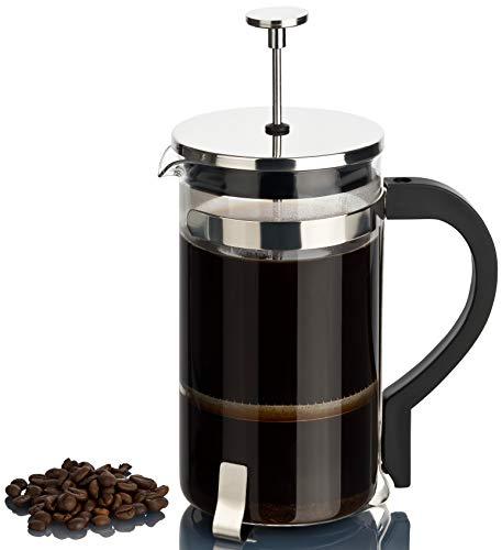 REMASD Kaffeebereiter groß 1l mit Permanent Edelstahlfilter | French Press System mit Kaffeekanne aus Glas für 8 Tassen