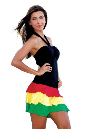 Ingear Women Ruffle Bandeau Dress Rasta X-Large (Bandeau Ruffle)