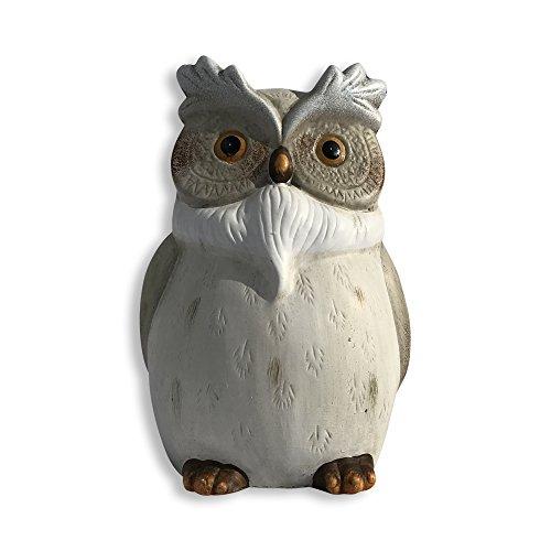 Die, Garten thront Figur Eule, handgegossen, bemalt und geschnitzt Details, Brennofen Keramik, über 25,4cm groß, weiß und natürlicher Ton Glasuren, Köder, von ganze Haus Welten -