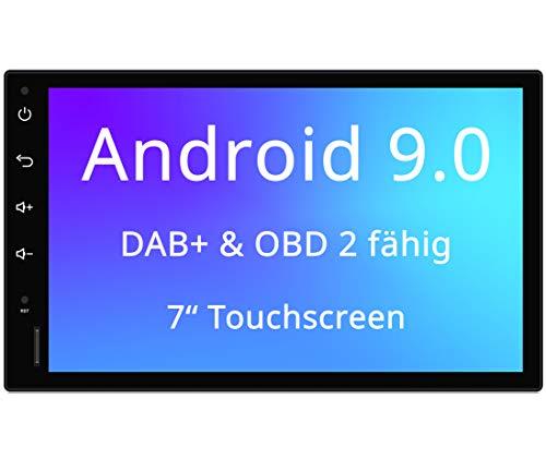Tristan Auron BT2D7018A Android 9.0 Autoradio mit Navi I 7\'\' Touchscreen Bildschirm I Bluetooth Freisprecheinrichtung I Quad Core GPS USB SD OBD 2 DAB+ - 2 DIN