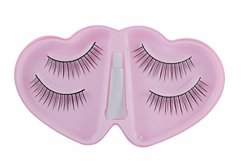 FOK Soft Natural Black Thick Long False Eyelashes With Glue Makeup Extension Pack Of 2 Pair Fake Eyelashes