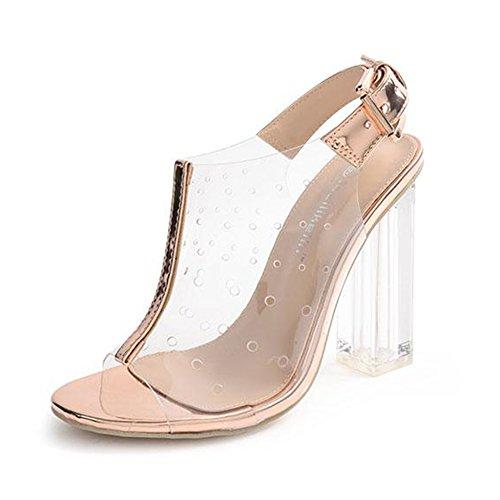 Peep Toe Klar Klar Klobige Ferse Sandalen Frauen Mode Sommer Knöchelriemen Pumps Für Nachtclubs Bankett Rom Schuhe,Gold-EU:35/UK:3