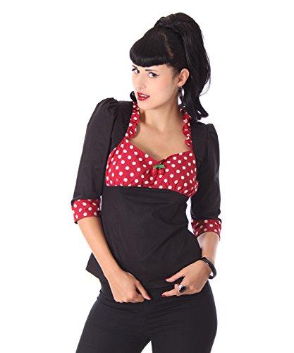 SugarShock Madita Rockabilly 50er Pin Up retro Polka Dots 3/4 Arm Bluse