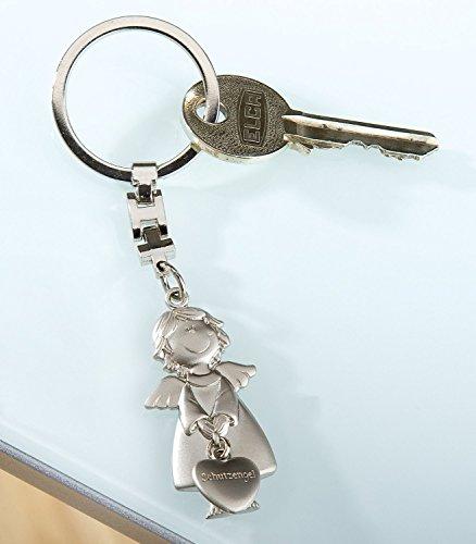 Gilde Schlüsselanhänger Metall Schutzengel matt silber/angehängtes Herz