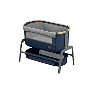 Maxi-Cosi Iora Bedside Crib with Easy Slide Function, Suitable from Birth, 0 Months - 9 kg, Essential Blue