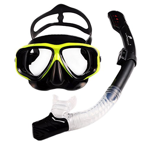 SAMGOO Silicone Diving Snorkelling Set Swim Mask Erwachsene Schnorchelset wasserdichter trockener Schnorchel Herren und Damen (Gelb schwarz 02)