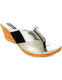 INDILEGO WOMEN'S PATENT LEATHER WEDGES SLIPPERS- SILVER