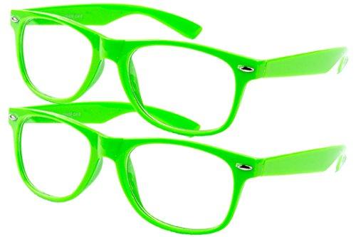 Ciffre 2 er Set EL-Sunprotect® Klar Glas Nerdbrille Brille Nerd Sonnenbrille Hornbrille Streber