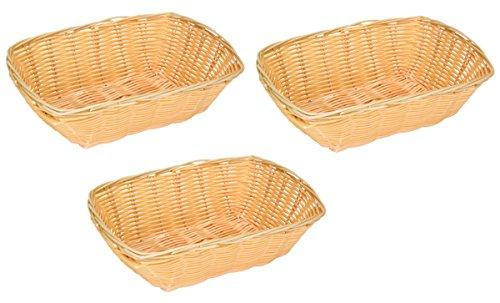 Brotkorb rechteckig geflochten - 3 Stück