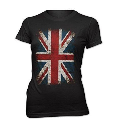 Femme T-Shirt Lady Fit Union Jack drapeau vintage rock grunge UK Angleterre Noir