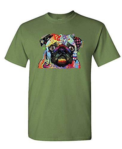 NEON Blacklight Pug Dog Canine pet Lover - Mens Cotton T-Shirt XXL