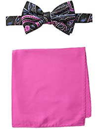 Steve Harvey Men's Paisley Woven Bowtie and Solid Pocket Square