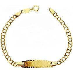 Alda Joyeros Esclava bebé cadena hungara en oro amarillo de 9 ktes. Personalizable: grabado gratuito.