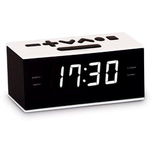 BigBen Interactive RR60 - Clock radio (LED display, AM / FM, 87.5-180 MHz, auto-off timer), white