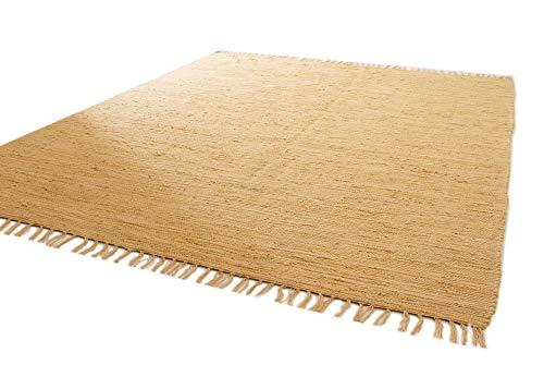 Handwebteppich Indira in Natur - Handweb Teppich aus 100% Baumwolle Fleckerl, Größe: 60x120 cm
