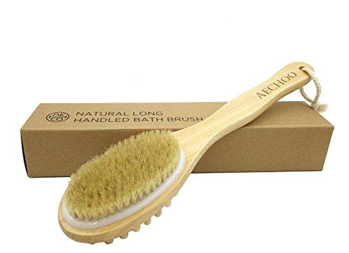 aechoo Brosse à dos naturelle en poils et à manche long Exfoliant & Massage, efficace pour brossage humide et sec Convient pour hommes et femmes, Avec sachet de lavande