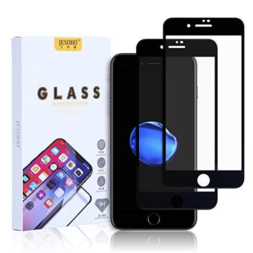 JESOHO Protecteur d'écran en verre trempé conçu pour iPhone 7 Plus et 8 Plus Noir (2 packs), couverture totale, 3D Touch, 0.3mm ultra-fin, anti-rayures, anti-traces de doigts