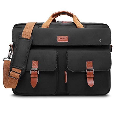 CoolBell umwandelbar Messenger Bag Rucksack Herren Umhängetasche Laptop Tasche Bag Business Aktentasche Multifunktions Reise Rucksack Notebook Schultertasche Passend für 17 Zoll Laptop(Schwarz)