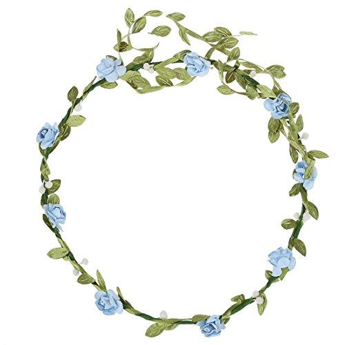 Bandeau-SODIAL(R) 2 pcs Dame Boho Floral Fleur Festival Mariage Guirlande Front Bandeau Bande de cheveux - Bleu Clair