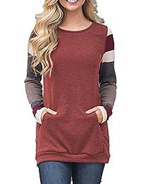 Smalltile Primavera e Autunno Donna Cime con Tasca Moda Patchwork Top  T-Shirt Jumper Tunica 16c9c4fee73