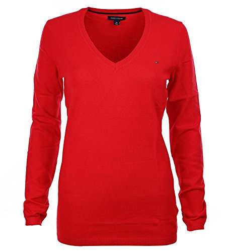 Tommy Hilfiger Cable Knit Pullover (Tommy Hilfiger Damen Pullover, Women's V-Neck Logo Sweater, X-Large)