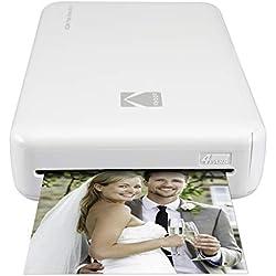 Kodak - Imprimante Photo Mini 2 HD, Instantanée, sans Fil et Mobile, Technologie d'Impression Brevetée 4Pass, Compatible avec iOS et Android, Blanc