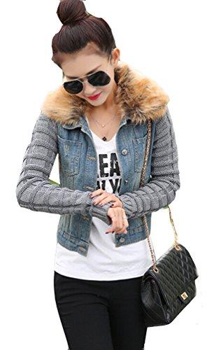 Ghope Ghope Jacket Parka Veste d'hiver Chaude doublure en fausse fourrure Jeans Denim Jean Veste d'extérieur Manteau Sweater tricot Bleu