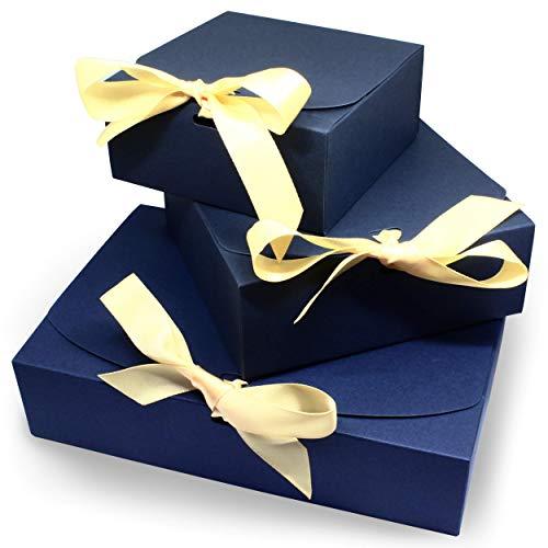 3 Geschenkboxen   Set mit verschiedenen Größen   Edles Design mit Schleifen   Geschenk-Schachtel Geschenk-Karton (blau)