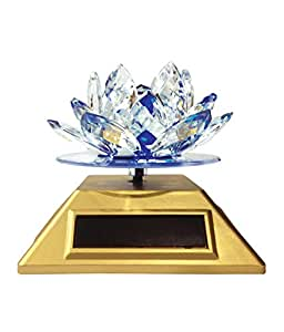 Feng Shui Kamal Crystal Lotus Flower With Auto Rotating Solar Stand ( Random Color )