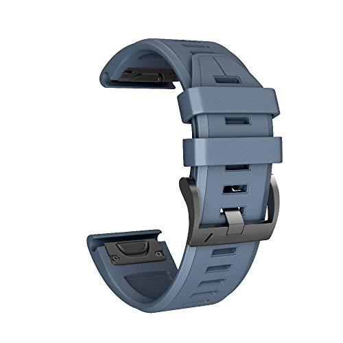 Huhu833 Sport Armband für Garmin Fenix 5X/5X Plus, 26MM Weicher Silikon Uhrenarmband Schnellinstallation Ersatzarmband Strap Kompatibel mit Garmin Fenix 3/3 HR GPS Uhr (Marine) -