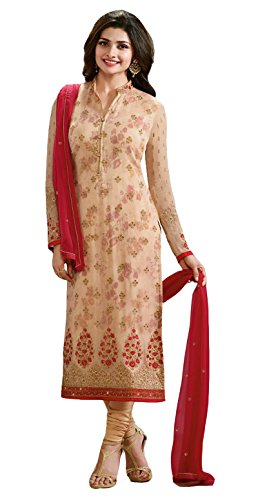 Clickedia Women\'s Pure Georgette Beige Salwar Suit With Sleeve Work- Dress Material