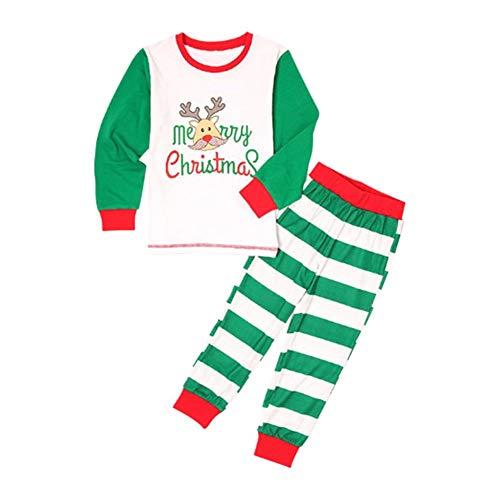 Hzjundasi Zusammenpassen Weihnachten Schlafanzug Nachtwäsche - Weihnachten Gedruckt Pyjama Eltern-Kind Nachtwäsche Lange Ärmel + Hose einstellen Weihnachten Urlaub Kostüm