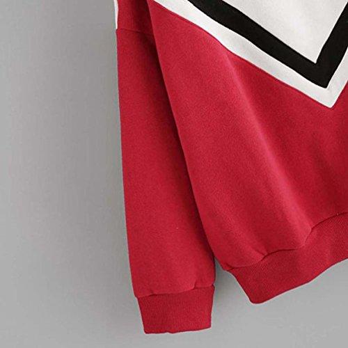 FRYS sweat shirt femme pull femme hiver chic soiree top mode manteau femme grande taille vetement femme pas cher fashion sport chemisier Ados Fille blouse femme manche longue printemps Rouge